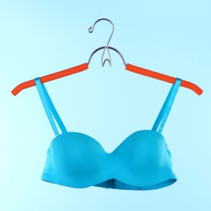 elegant blue bra on red hanger