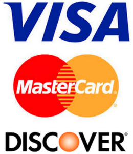 logos of visa, mastercard, and discover